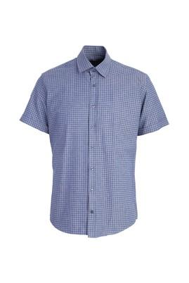 Erkek Giyim - ORTA LACİVERT L Beden Kısa Kol Desenli Slim Fit Gömlek