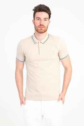 Erkek Giyim - AÇIK KAHVE M Beden Polo Yaka Nakışlı Slim Fit Tişört