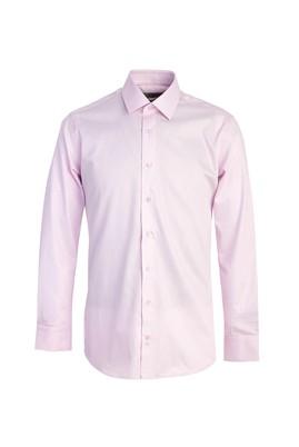 Erkek Giyim - PEMBE L Beden Uzun Kol Non Iron Saten Slim Fit Gömlek