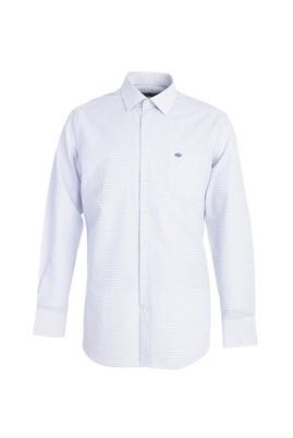 Erkek Giyim - KOYU MAVİ 3X Beden Uzun Kol Klasik Desenli Gömlek