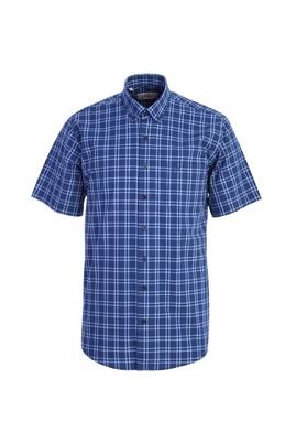 Erkek Giyim - LACİVERT XXL Beden Kısa Kol Regular Fit Ekose Gömlek