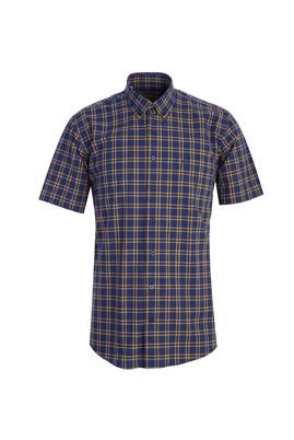 Erkek Giyim - LACİVERT 3X Beden Kısa Kol Klasik Ekose Gömlek