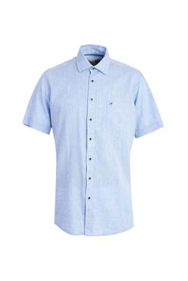 Erkek Giyim - MAVİ XXL Beden Kısa Kol Keten Klasik Desenli Gömlek