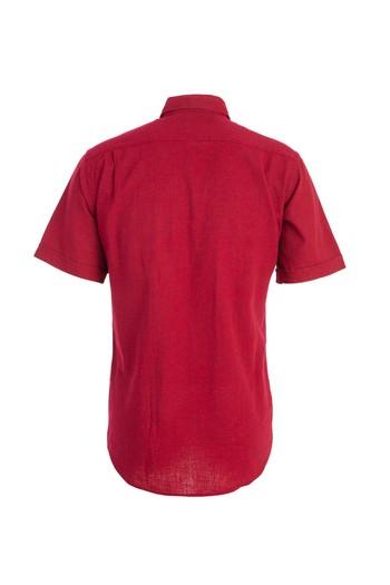 Erkek Giyim - Kısa Kol Regular Fit Keten Desenli Gömlek