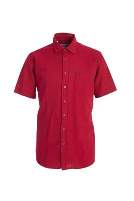 Erkek Giyim - BORDO M Beden Kısa Kol Keten Klasik Desenli Gömlek
