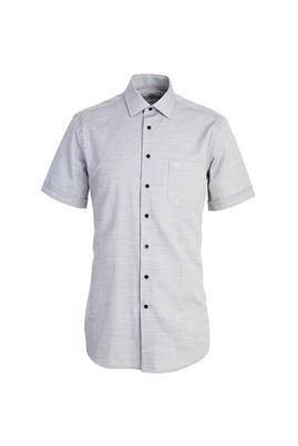 Erkek Giyim - SİYAH XL Beden Kısa Kol Regular Fit Desenli Gömlek