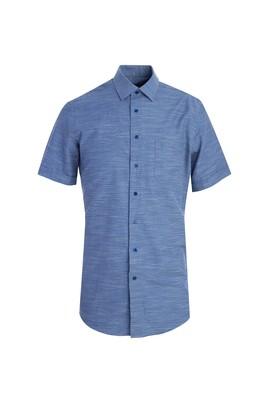 Erkek Giyim - KOYU MAVİ L Beden Kısa Kol Klasik Desenli Gömlek