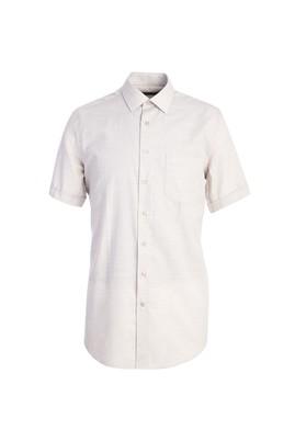 Erkek Giyim - AÇIK BEJ M Beden Kısa Kol Klasik Desenli Gömlek
