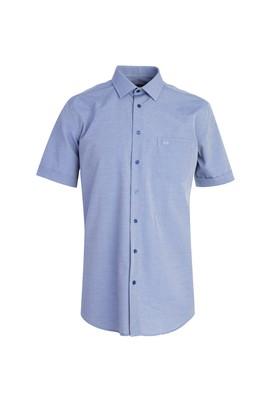 Erkek Giyim - KOYU MAVİ M Beden Kısa Kol Klasik Desenli Gömlek