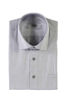 Erkek Giyim - AÇIK GRİ XL Beden Kısa Kol Desenli Klasik Gömlek