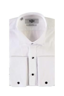 Erkek Giyim - BEYAZ M Beden Ata Yaka Slim Fit Gömlek