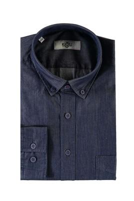 Erkek Giyim - KOYU MAVİ L Beden Uzun Kol Denim Gömlek