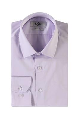 Erkek Giyim - LİLA L Beden Uzun Kol Saten Slim Fit Gömlek