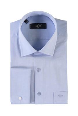 Erkek Giyim - MAVİ L Beden Uzun Kol Manşetli Klasik Gömlek