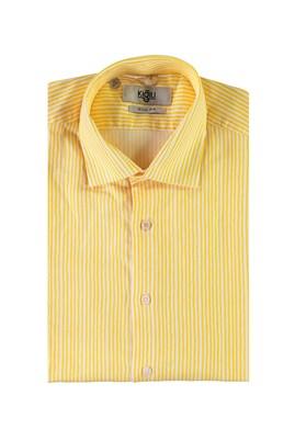Erkek Giyim - AÇIK SARI M Beden Uzun Kol Çizgili Slim Fit Gömlek