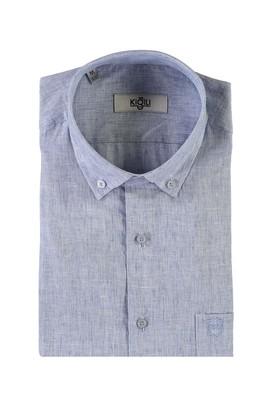 Erkek Giyim - MAVİ XXL Beden Kısa Kol Desenli Spor Gömlek