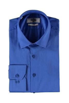 Erkek Giyim - SAKS MAVİ M Beden Uzun Kol Slim Fit Saten Gömlek