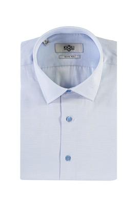 Erkek Giyim - UÇUK MAVİ L Beden Kısa Kol Desenli Slim Fit Gömlek