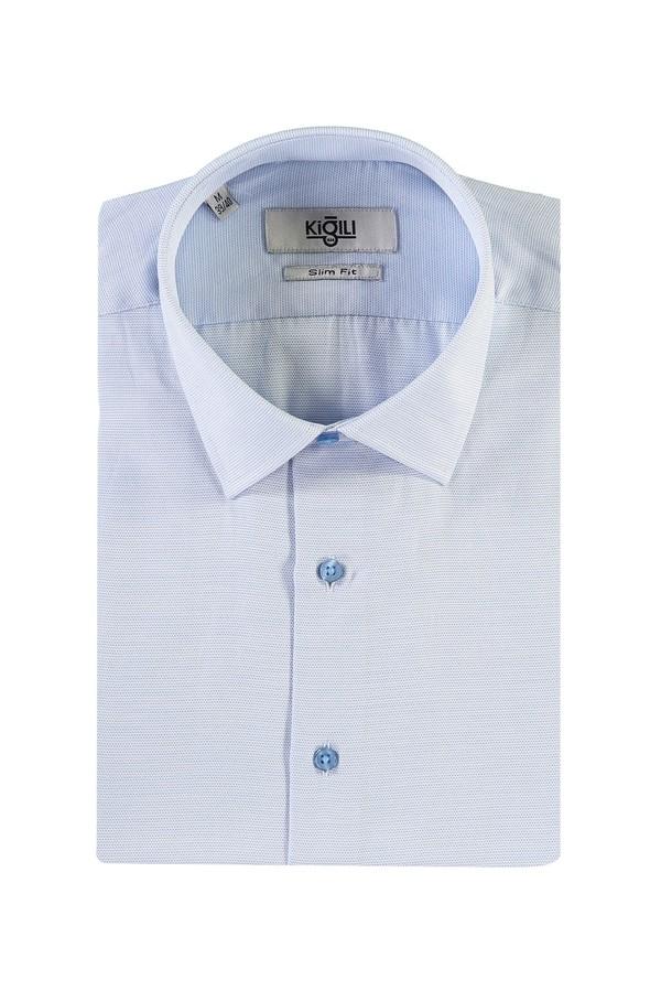 Kısa Kol Desenli Slim Fit Gömlek