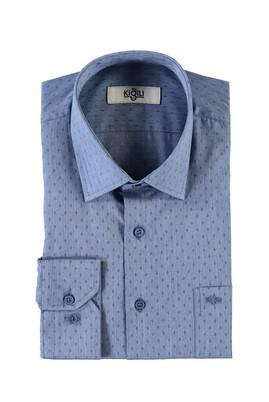 Erkek Giyim - AÇIK LACİVERT XL Beden Uzun Kol Desenli Klasik Gömlek