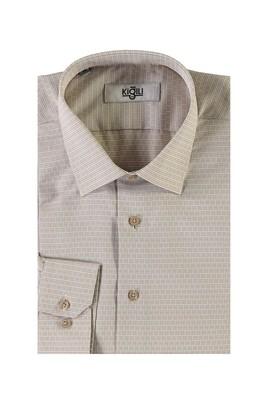 Erkek Giyim - BEJ S Beden Uzun Kol Desenli Spor Gömlek