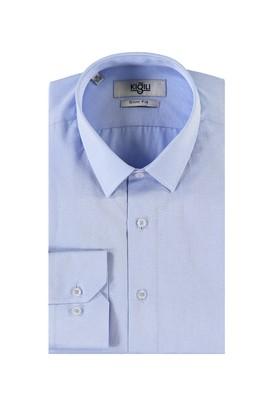 Erkek Giyim - KOYU MAVİ XL Beden Uzun Kol Desenli Slim Fit Gömlek