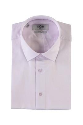 Erkek Giyim - LİLA M Beden Kısa Kol Desenli Slim Fit Gömlek