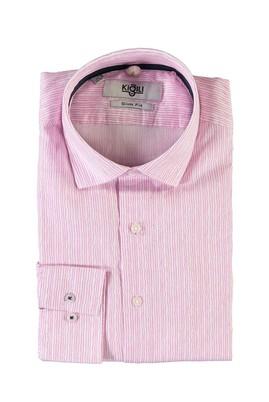 Erkek Giyim - TOZ PEMBE S Beden Uzun Kol Çizgili Slim Fit Gömlek