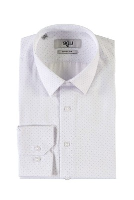 Erkek Giyim - AÇIK MAVİ M Beden Uzun Kol Baskılı Slim Fit Gömlek