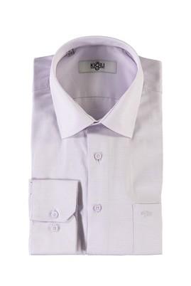 Erkek Giyim - KIRMIZI M Beden Uzun Kol Desenli Klasik Gömlek