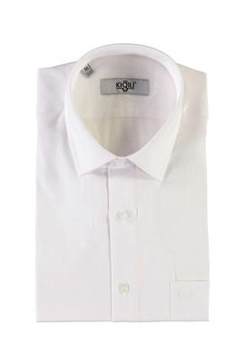Erkek Giyim - BEYAZ L Beden Kısa Kol Regular Fit Desenli Gömlek