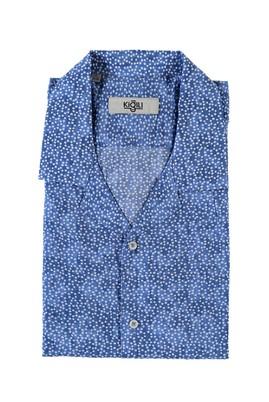 Erkek Giyim - MAVİ XL Beden Kısa Kol Baskılı Spor Gömlek