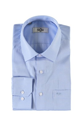 Erkek Giyim - AÇIK MAVİ 4X Beden Uzun Kol Desenli Klasik Gömlek