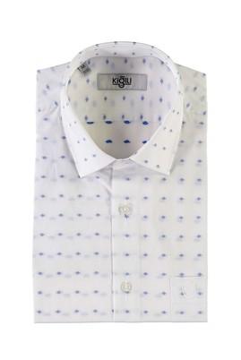 Erkek Giyim - BEYAZ L Beden Kısa Kol Desenli Klasik Gömlek