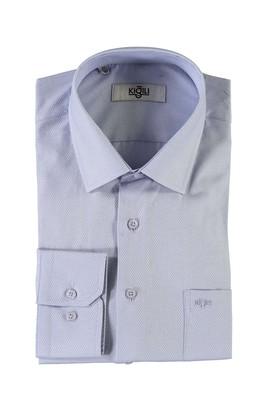 Erkek Giyim - MAVİ XXL Beden Uzun Kol Desenli Klasik Gömlek