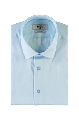 Erkek Giyim - AÇIK TURKUAZ M Beden Kısa Kol Desenli Slim Fit Gömlek