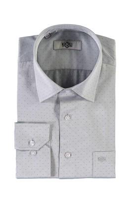 Erkek Giyim - AÇIK GRİ 3X Beden Uzun Kol Desenli Klasik Gömlek
