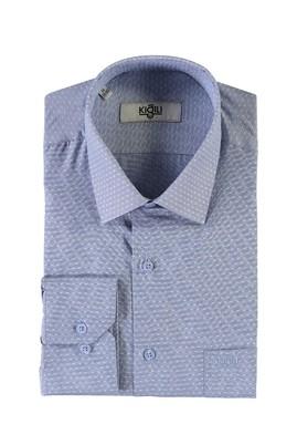 Erkek Giyim - MAVİ XXL Beden Uzun Kol Regular Fit Desenli Gömlek