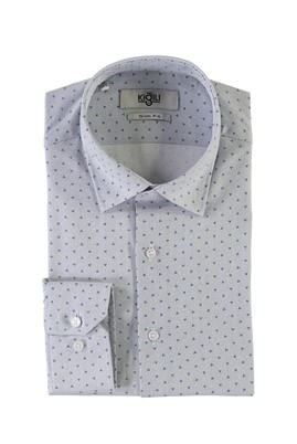 Erkek Giyim - ORTA LACİVERT XL Beden Uzun Kol Baskılı Slim Fit Gömlek