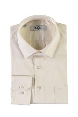 Erkek Giyim - KREM L Beden Uzun Kol Saten Klasik Gömlek