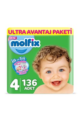 Erkek Giyim -   Beden Molfix 3D Bebek Bezi, Maxi (4) Beden, 136 Adet
