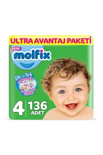 Erkek Giyim - Molfix 3D Bebek Bezi, Maxi (4) Beden, 136 Adet