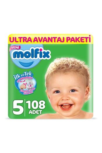 Erkek Giyim - Molfix 3D Bebek Bezi, Junior (5) Beden, 108 Adet