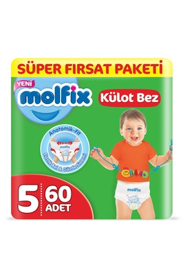Erkek Giyim -   Beden Molfix 3D Külot Bez, Junior (5) Beden, 60 Adet