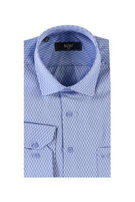 Erkek Giyim - Mavi XL Beden Uzun Kol Regular Fit Desenli Gömlek