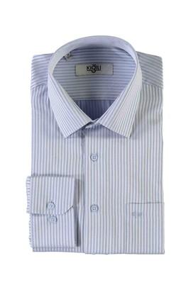 Erkek Giyim - MAVİ 4X Beden Uzun Kol Regular Fit Desenli Gömlek