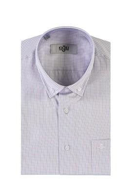 Erkek Giyim - ORTA MOR XL Beden Kısa Kol Ekose Klasik Gömlek