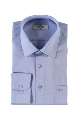 Erkek Giyim - MAVİ M Beden Uzun Kol Desenli Klasik Gömlek