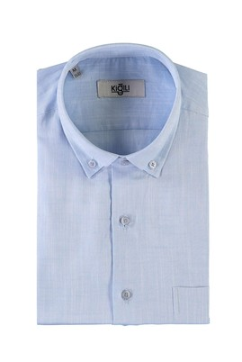 Erkek Giyim - AÇIK MAVİ XXL Beden Kısa Kol Desenli Spor Gömlek