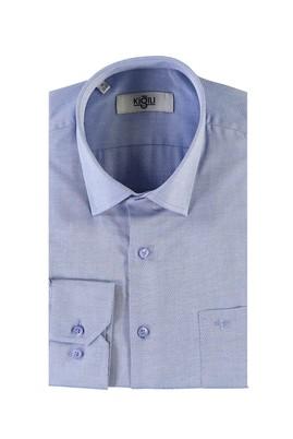 Erkek Giyim - MAVİ L Beden Uzun Kol Desenli Klasik Gömlek